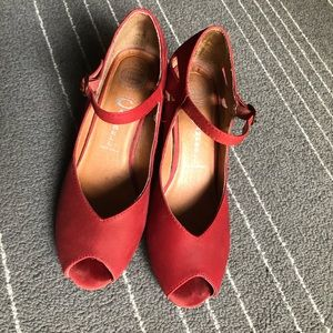 Jeffrey Campbell Peep Toe Red Wedge